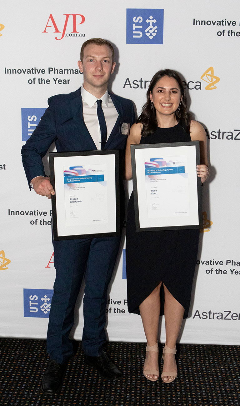 PSA Prize for Excellence in Pharmacy winners Joshua Thompson and Malu Katz.