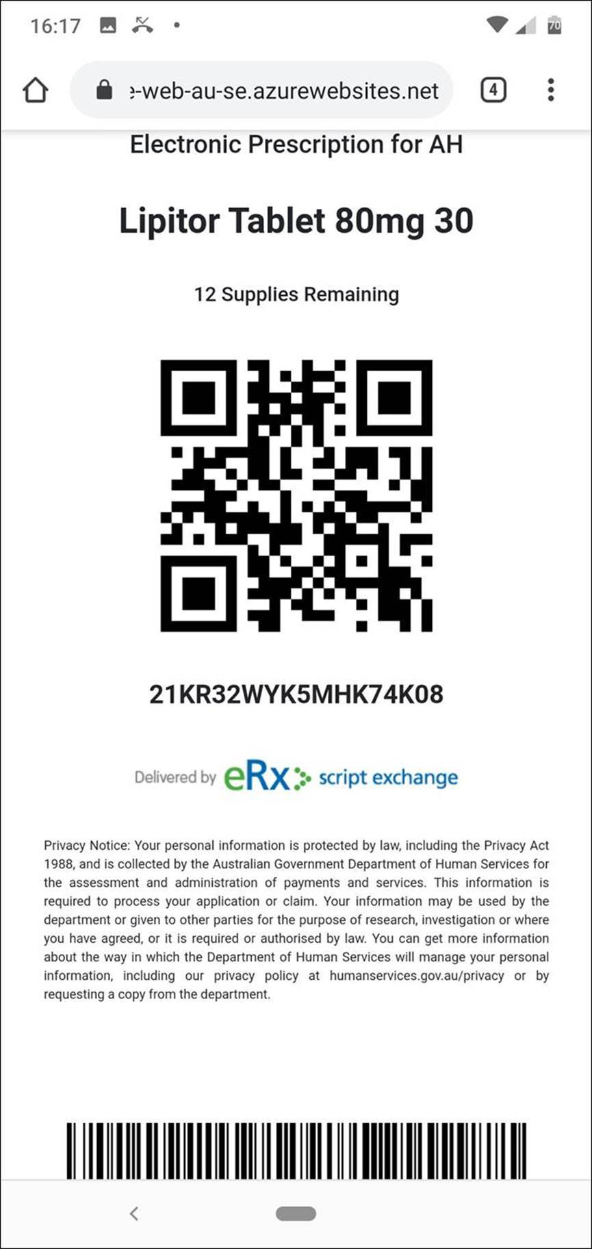The token can be sent to the patient via an app, SMS or email, and is scanned at the pharmacy.