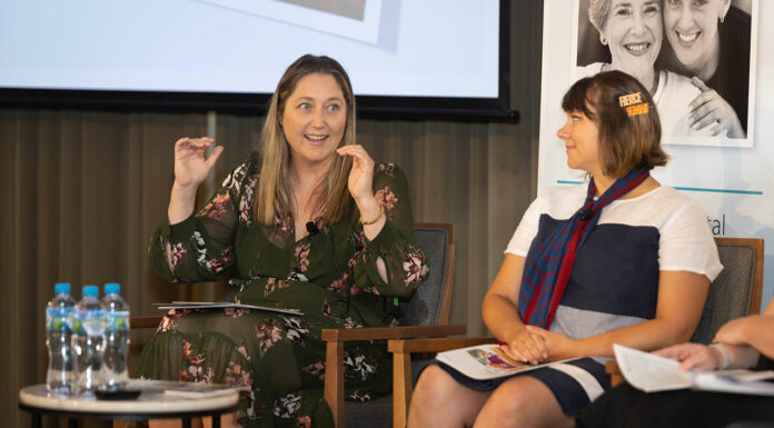 Pharmacist and federal MP Emma McBride MPS (left) with PSA NSW Branch President Chelsea Felkai MPS during a panel discussion.