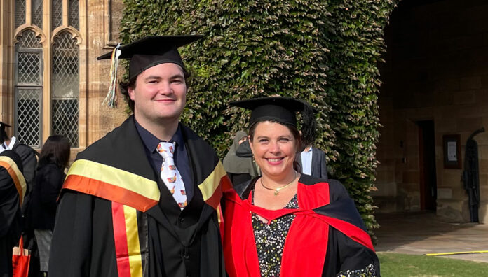 Graduation day: Alexander Burke MPS with Associate Professor Rebekah Moles